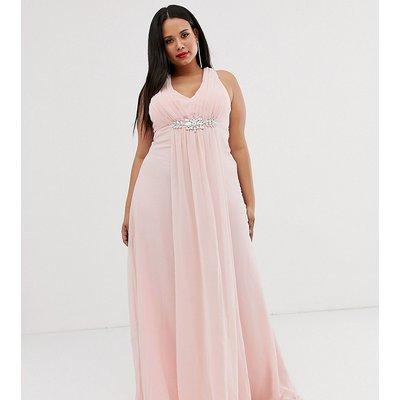 City Goddess Plus v neck embellished chiffon maxi dress-Pink