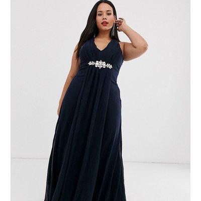 City Goddess Plus v neck embellished chiffon maxi dress-Navy