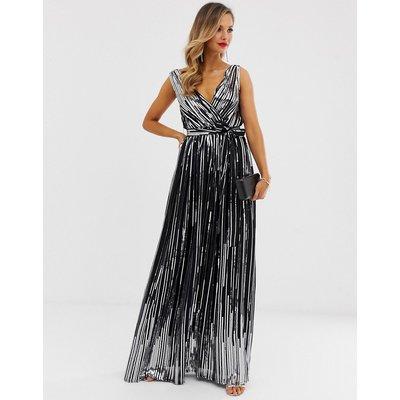 City Goddess sequin chiffon wrap maxi dress-Black