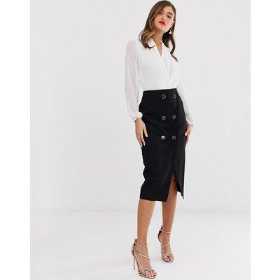 Closet London button pencil skirt in black