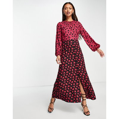 Closet London contrast midi tea dress in plum heart print-Multi