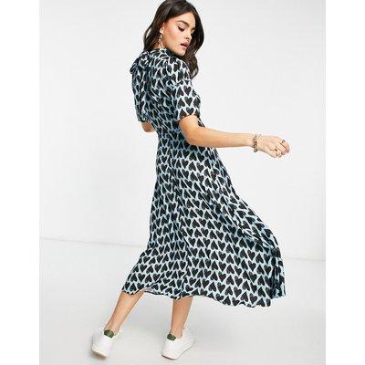 Closet London high neck tie back midi tea dress in mint heart print-Multi