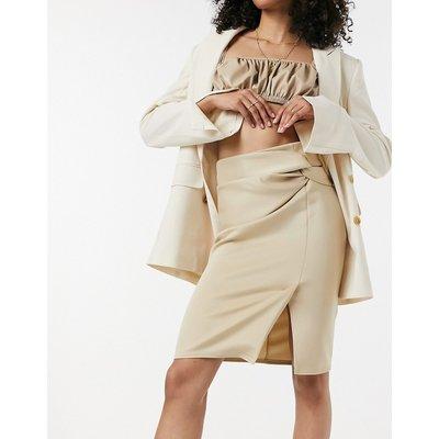 Closet London twist front knee length pencil skirt in stone-Beige
