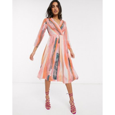 Closet London wrap midi dress in stripe print-Multi