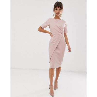 Closet London wrapover ruched pencil dress with asymmetric skirt in mauve-Purple