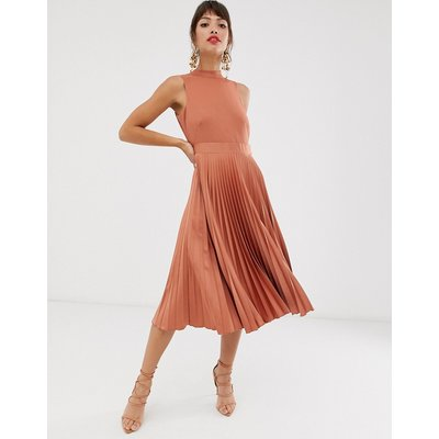 Closet pleated skirt midi dress in rust-Brown