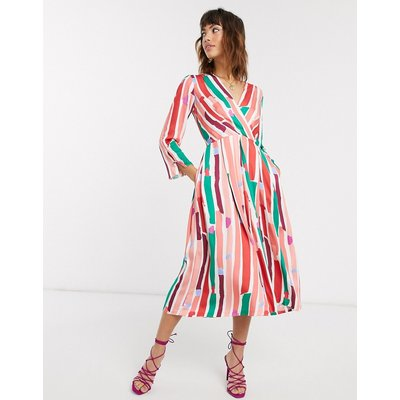 Closet pleated wrap dress-Multi