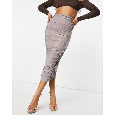 Club L London ruched detail bodycon maxi skirt in mauve-Purple