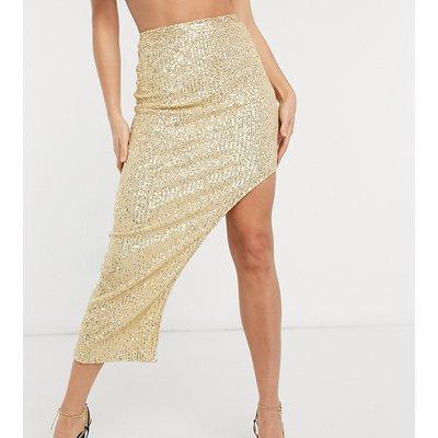 Club L London Tall sequin maxi skirt in light gold