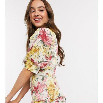 Collective The Label Petite midi tea dress in floral print-Multi