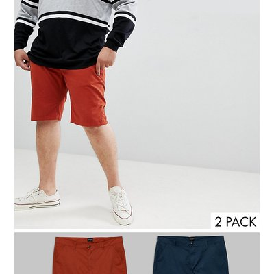 D-Struct PLUS – Chino-Shorts, 2er-Pack-Rot