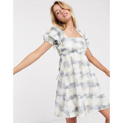 Damson Madder organic cotton tea dress with puff sleeves in tie dye-Multi