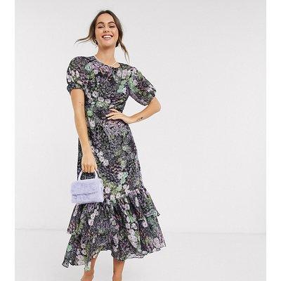 Dark Pink ruffle hem maxi tea dress in patchwork ditsy floral-Multi