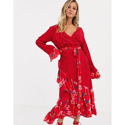 Dark Pink wrap front midaxi dress in dark floral print-Multi