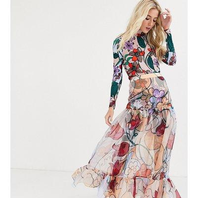 Desree Akorahson maxi skirt in sheer floral organza-Pink