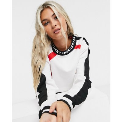 DKNY – Kurzes, langärmliges Frottee-Shirt in Weiß