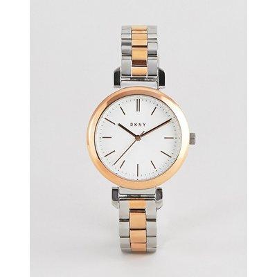 DKNY – NY2585 – Zweifarbige Damen-Armbanduhr mit weißem Zifferblatt-Mehrfarbig