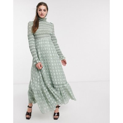 DREAM Sister Jane maxi dress with frill neck in shirred floral-Green