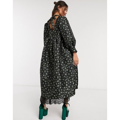 Dream Sister Jane oversized smock dress with volume sleeves in floral jacquard-Black