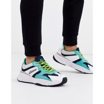 ELLESSE Ellesse – Aurano – Blau/weiße Sneaker aus Leder mit dicker Profilsohle
