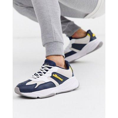 ELLESSE Ellesse – Aurano – Klobige Leder-Sneaker in Marine/Weiß-Navy