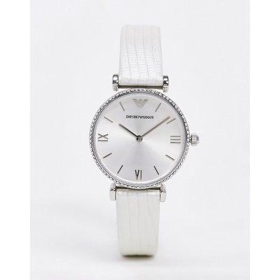 Emporio Armani – Armbanduhr mit Lederarmband-Silber