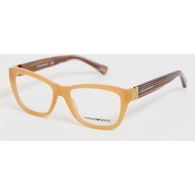 Emporio Armani – Brille mit honigfarbigem Rahmen, opalfarbigen Armen und klaren Gläsern-Mehrfarbig
