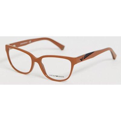 Emporio Armani – Brille mit transparenten Gläsern und braunem Gestell