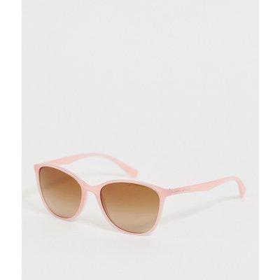 Emporio Armani – Eckige Sonnenbrille in Opal-Optik in Koralle-Rosa