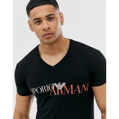 Emporio Armani – Lounge-T-Shirt mit Logoaufdruck-Schwarz