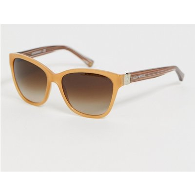 Emporio Armani – Viereckige Sonnenbrille mit honigfarbigem Rahmen und Opal-Optik-Mehrfarbig