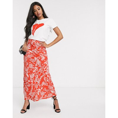 Fabienne Chapot laurie coral print maxi skirt in coral-Red