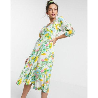Faithfull maud floral midi dress with 3/4 sleeve in ilona floral print-Multi