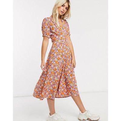 Faithfull meadows floral print short sleeve midi dress-Orange