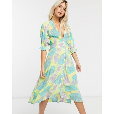 Faithfull rafa floral print short sleeve midi dress with button down front-Yellow