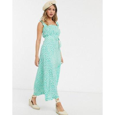 Faithfull The Brand saint tropez polka dot midi dress in green