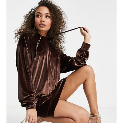 Fashionkilla exclusive velour oversized pocket hoodie dress with added face covering in chocolate-Brown