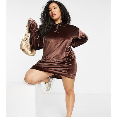 Fashionkilla Plus exclusive velour oversized pocket hoodie dress with added face covering in chocolate-Brown
