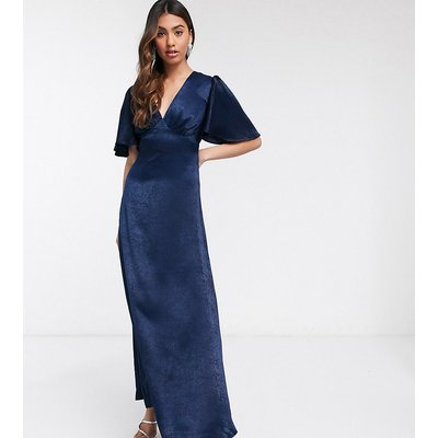 Flounce London exclusive plunge satin maxi tea dress with flutter sleeve in navy