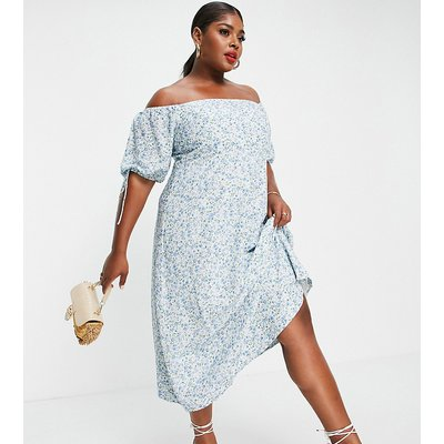 Forever New Curve bardot puff sleeve cut out midi dress in blue ditsy floral-Multi