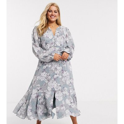 Forever New Curve buttoned dobby midaxi dress in floral print print-Multi