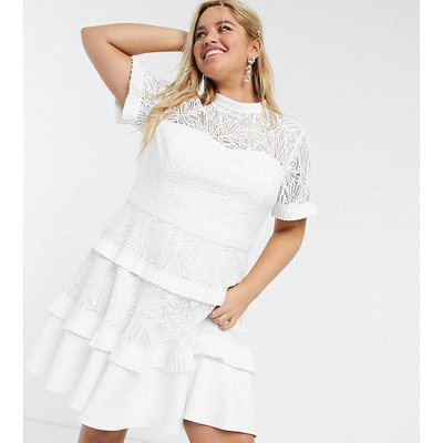 Forever New Curve pleat lace midi dress in white