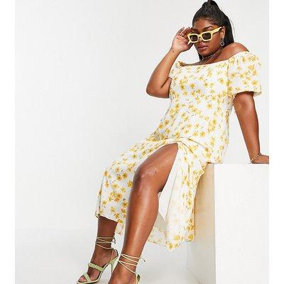 Forever New Curve puff sleeve split midi dress in buttercup print-Multi
