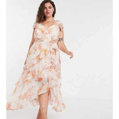 Forever New Curve shoulder midi dress in orange floral