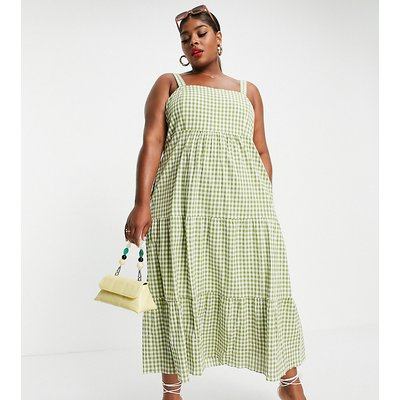 Forever New Curve square neck tiered midi smock dress in gingham-Multi