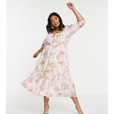 Forever New Curve tie front puff sleeve tea dress in peachy rose-Multi