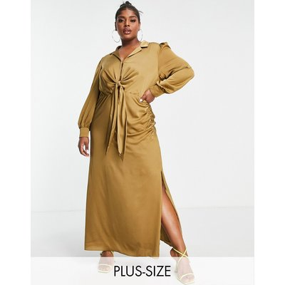 Forever New Curve tie front ruched shirt midi dress in olive-Green