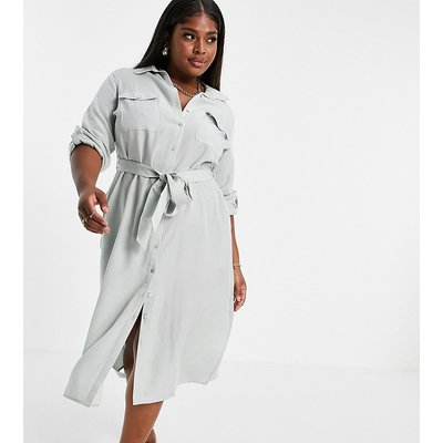 Forever New Curve utility shirt midi dress in sage green