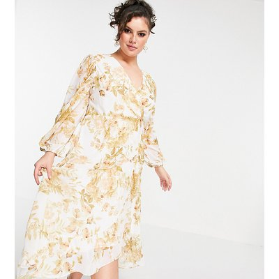 Forever New Curve wrap midi dress with ruffle hem in ivory and gold floral-White