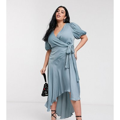 Forever New Curve wrap satin hi-low dress with balloon sleeve in sage-Green